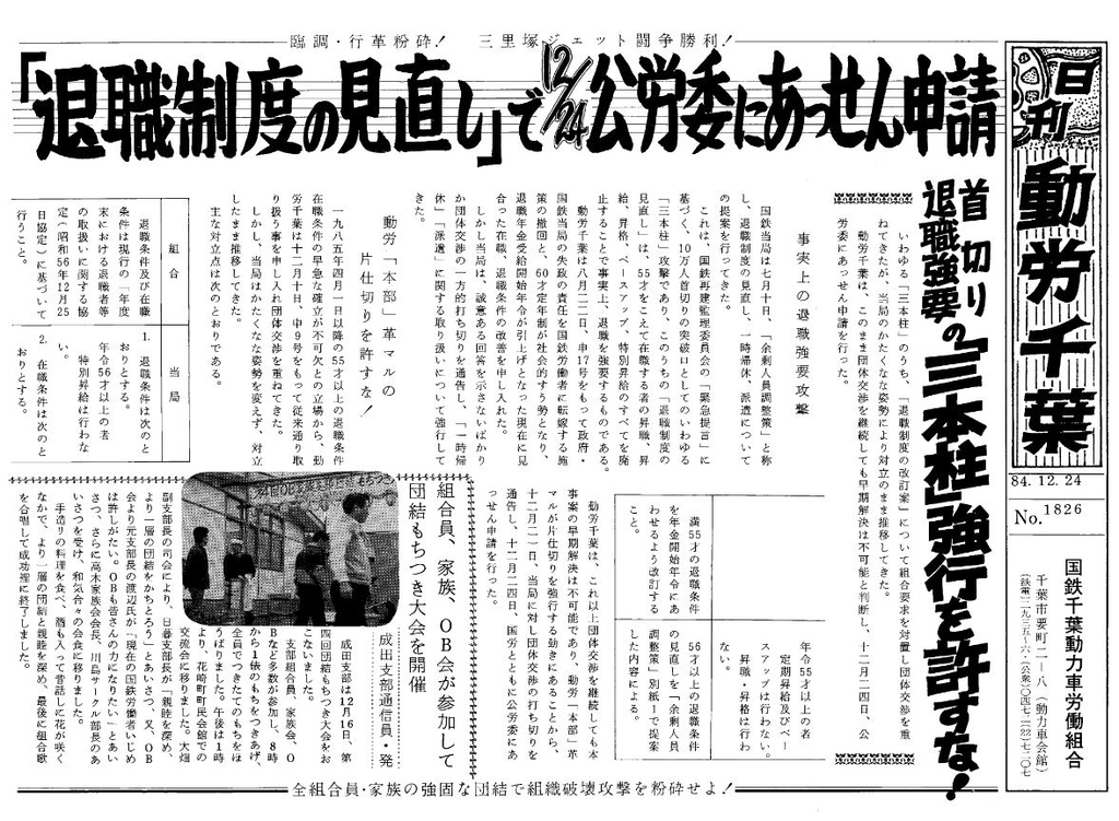 千葉動労 日刊動労千葉 1984/12/24付
