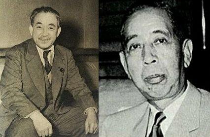 社会党鈴木委員長と岸信介首相