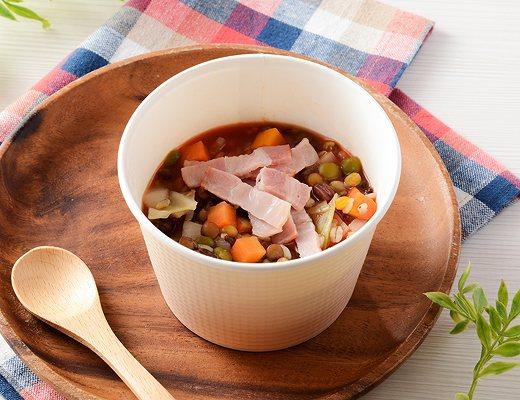 厳選おすすめもち麦プチプチ!ベーコンと豆のトマトスープ