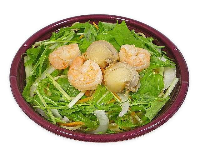海老と帆立と水菜のスープパスタ(塩味)