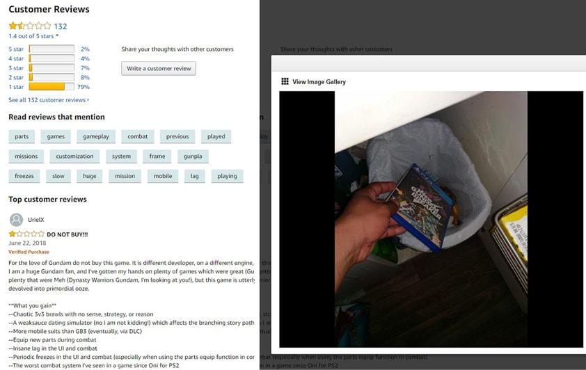 Newガンダムブレイカーをゴミ箱へ捨てる画像、海外アマゾンレビュー