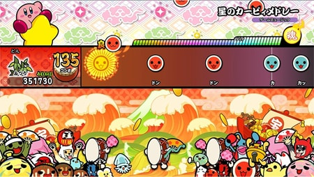 スイッチ版の太鼓の達人のゲーム画面