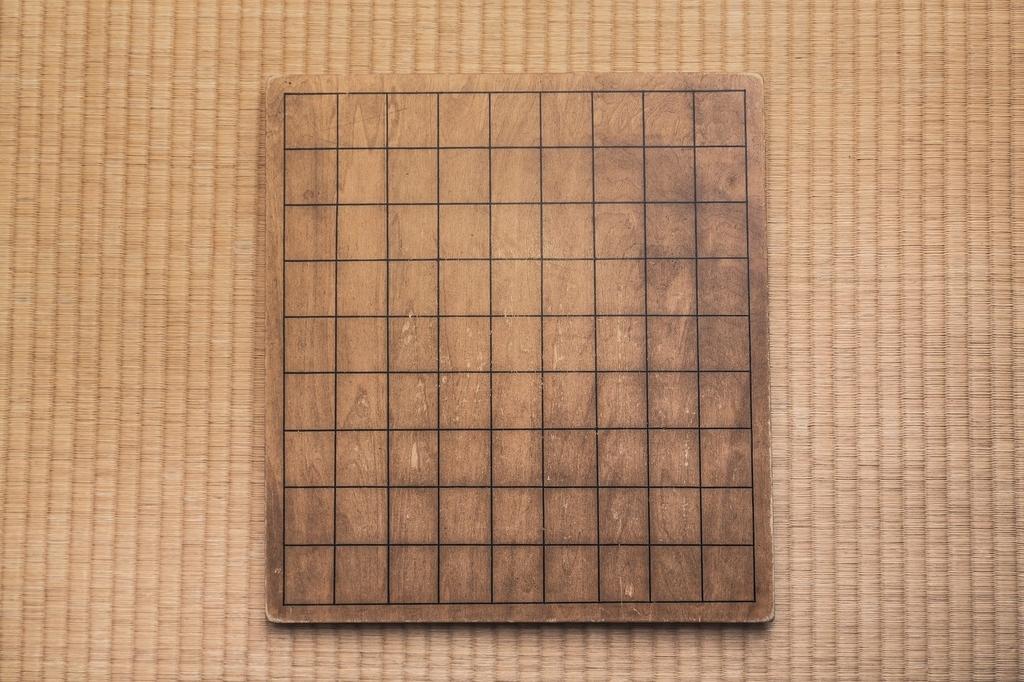 使い古された将棋盤のフリー画像(写真)