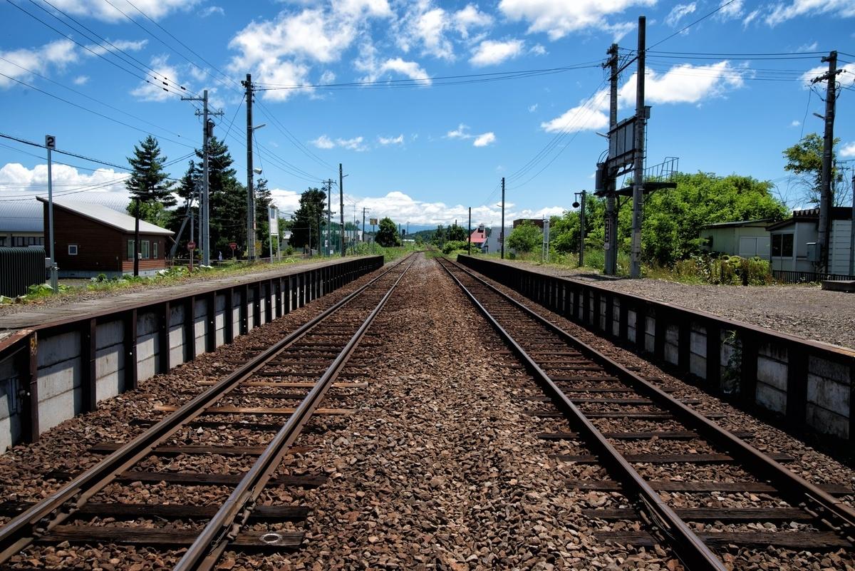 JR富良野線のホームと千代ヶ岡駅舎から続く線路のフリー画像(写真)