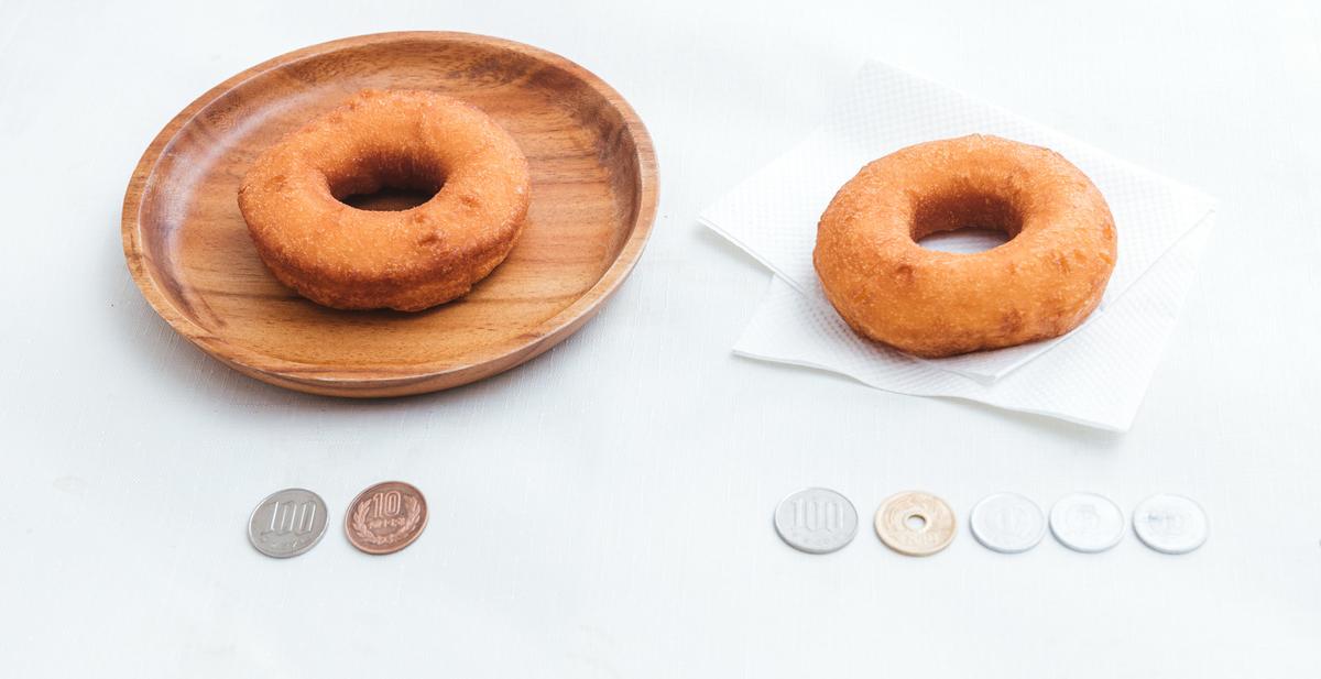 110円と108円のドーナッツのフリー画像(写真)
