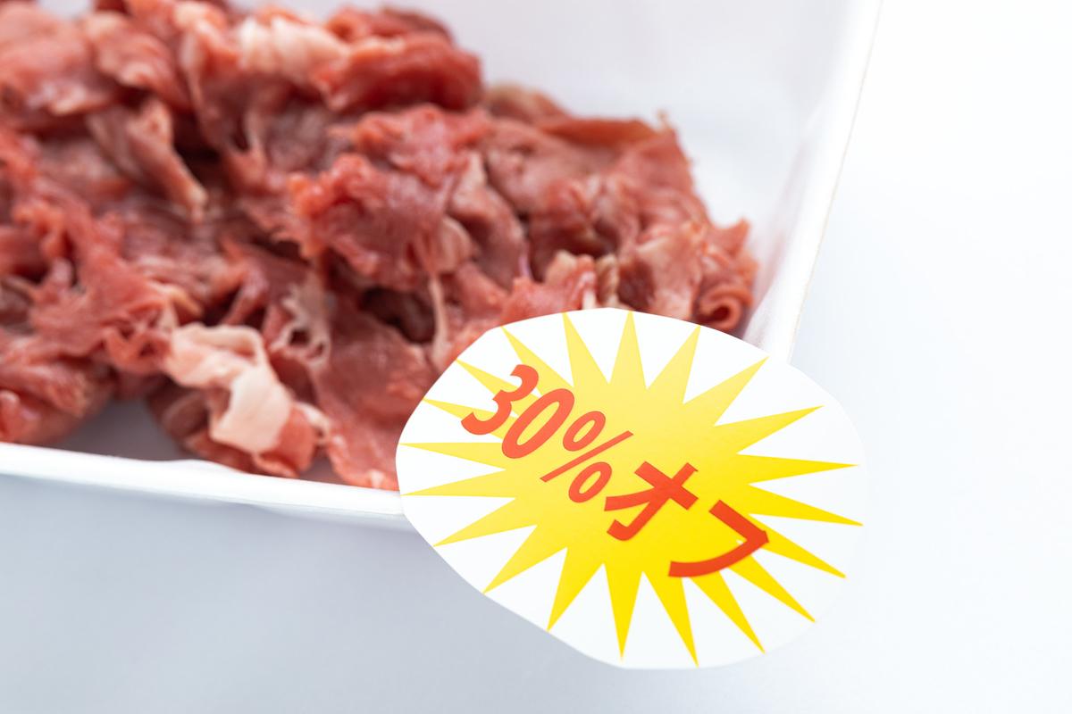 細切れ肉今なら30%オフのフリー画像(写真)