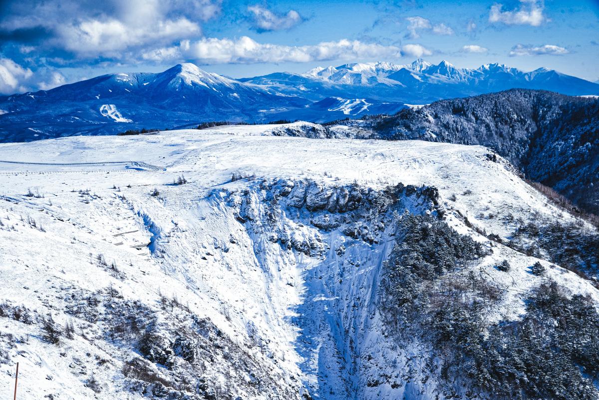 冬の美ヶ原高原と八ヶ岳のフリー画像(写真)
