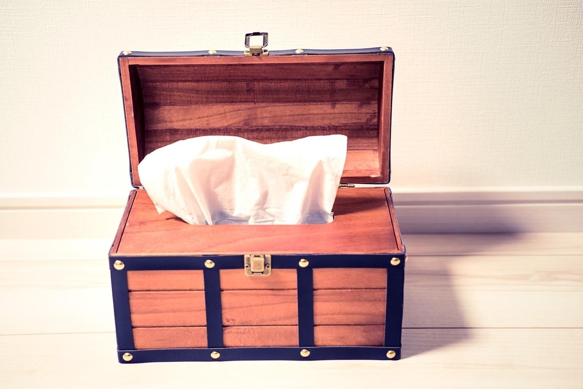 テッシュケース(宝箱)のフリー素材(写真)