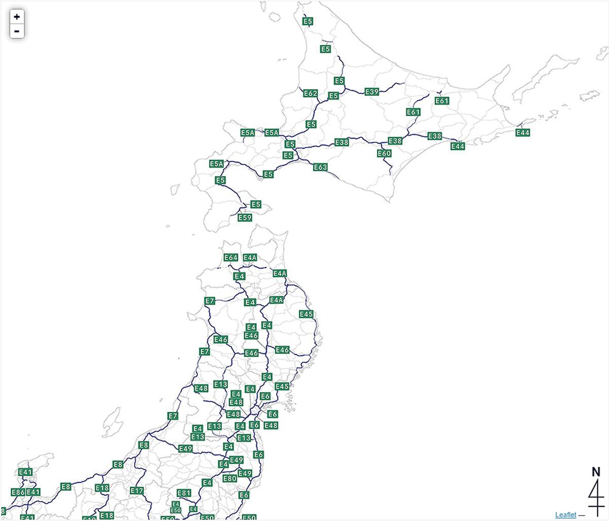 高速道路ナンバリング路線図