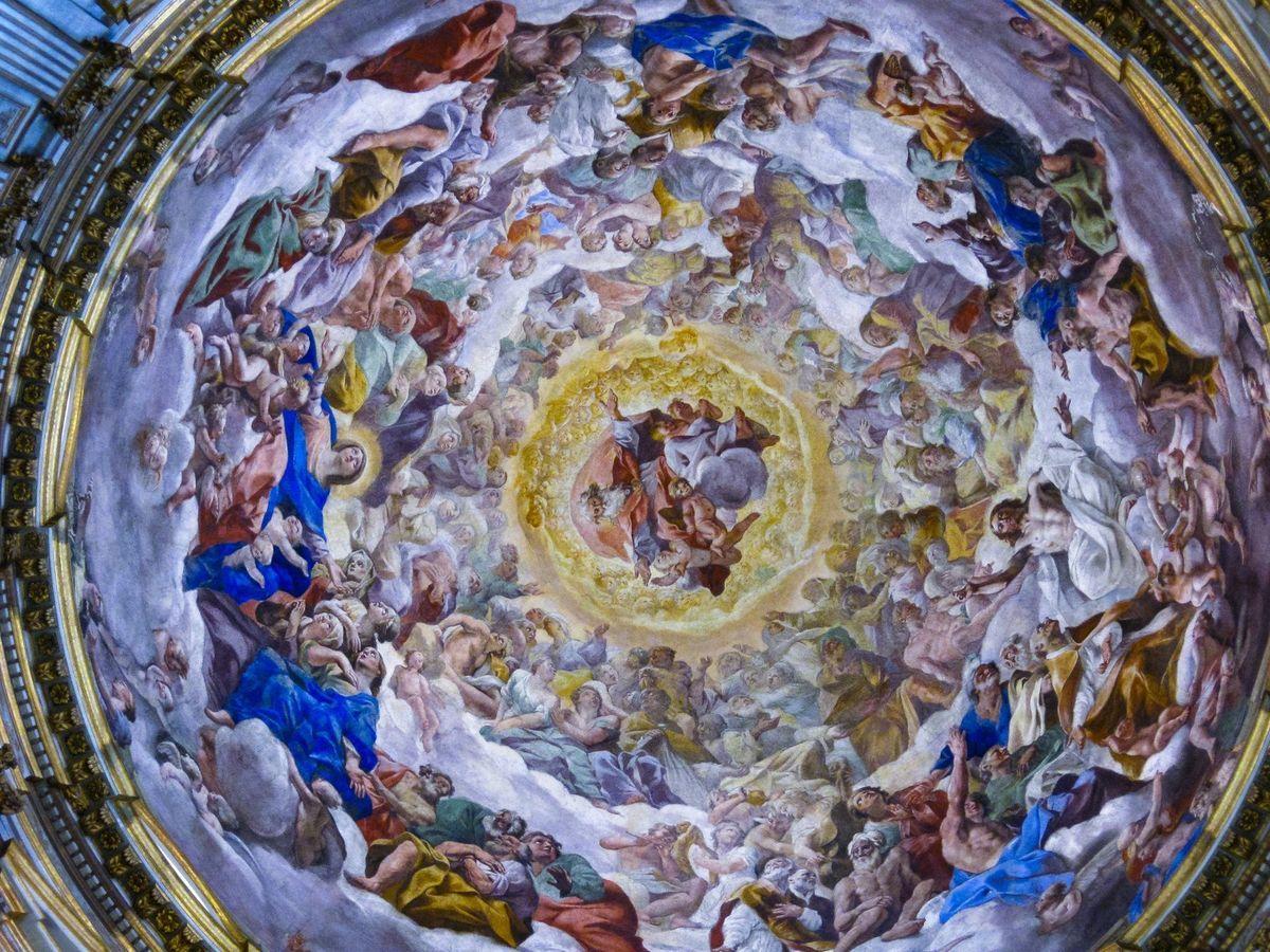 大聖堂の天井画(イタリア)の写真素材