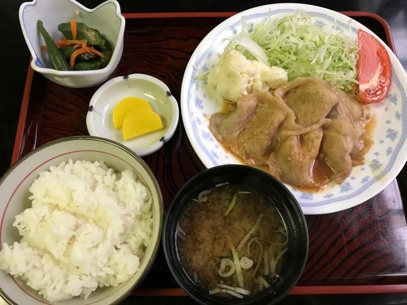 むつ市、斗南庵の生姜焼き定食