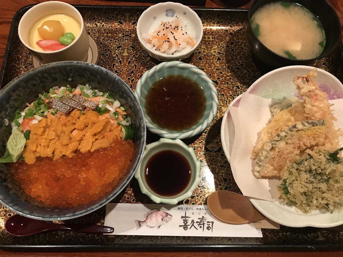三沢市、喜久寿司、うにさけいくら丼