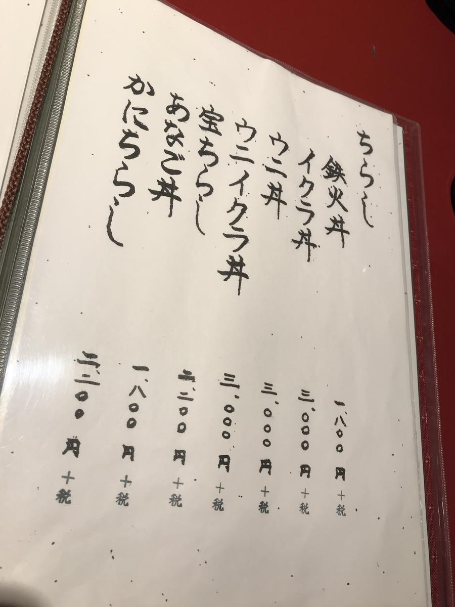 三沢市、宝寿司のメニュー