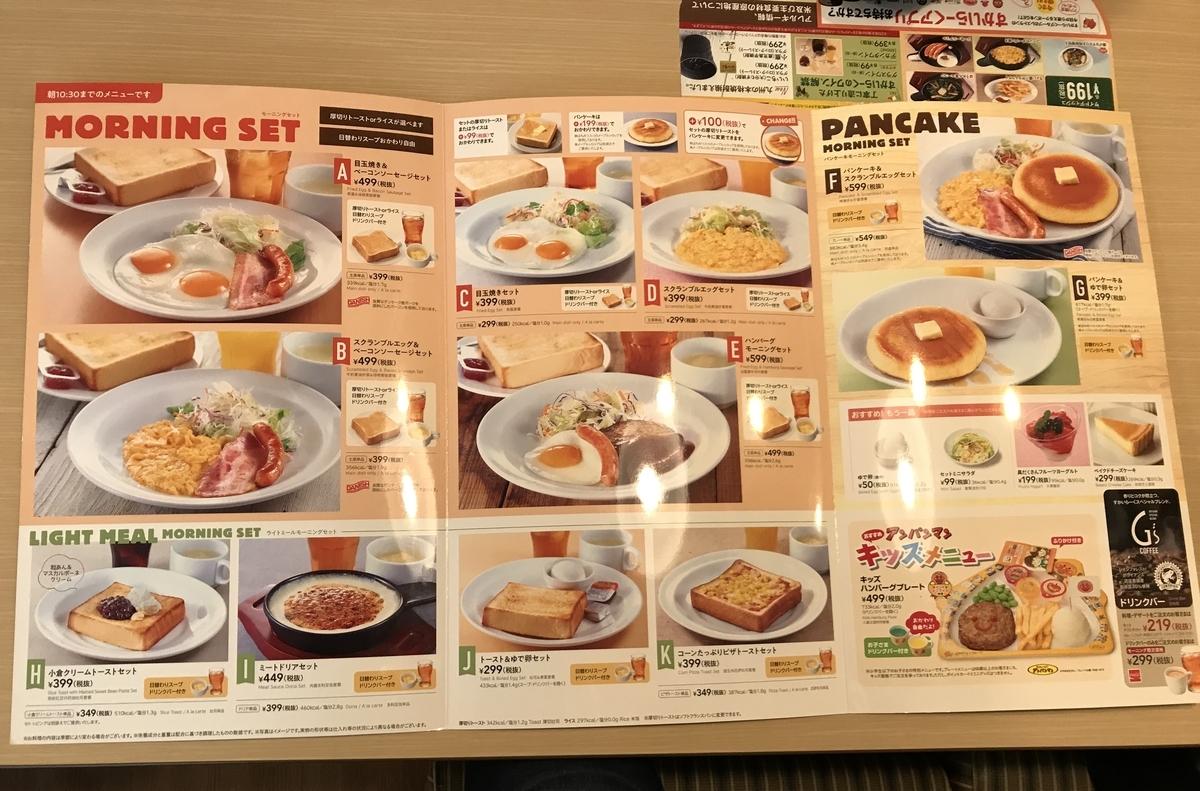 ガストの朝食メニュー