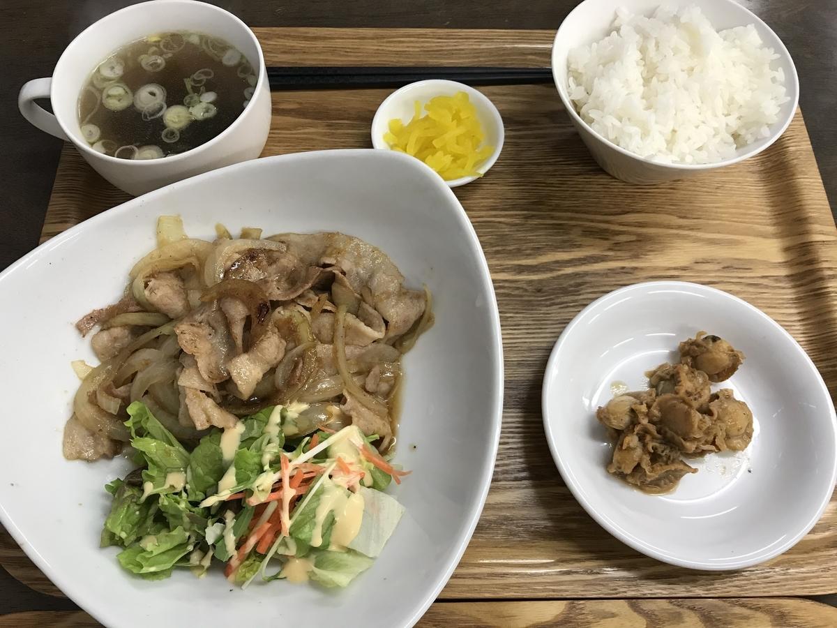 むつ市あしざき食堂、生姜焼き定食