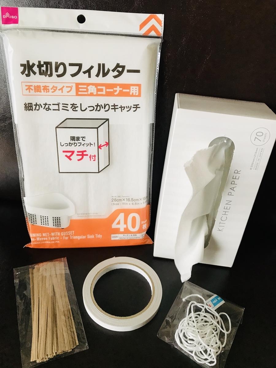 不織布マスク作りの材料