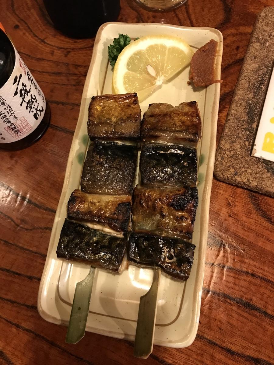 八戸市、ろくもんせんの銀鯖の串焼き
