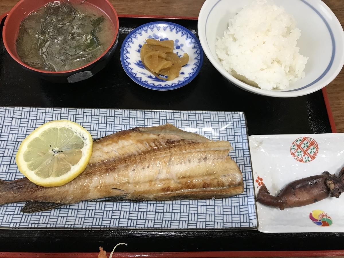 下風呂、あさの食堂のホッケ焼魚定食