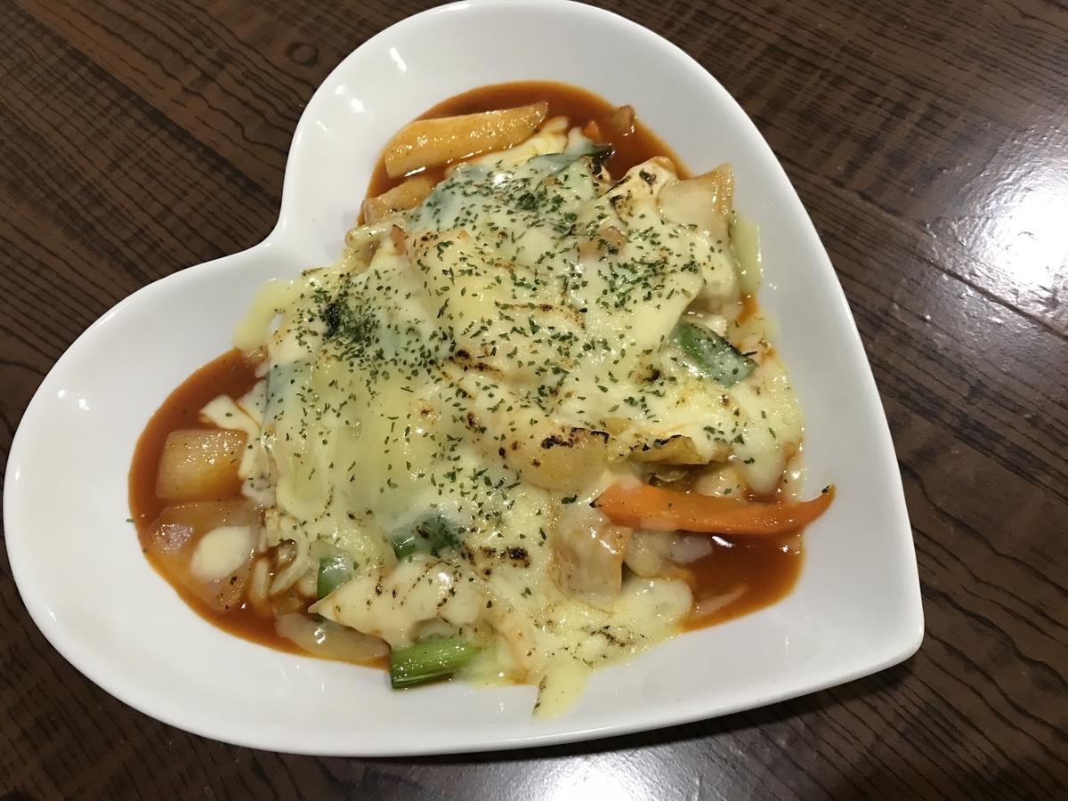 むつ市、韓国料理HANのチーズトッポッキ
