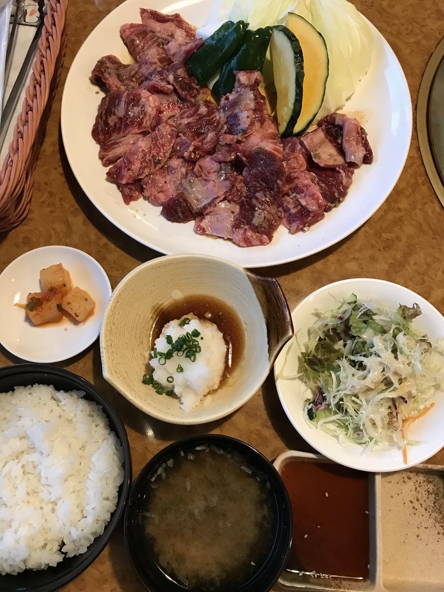 一心亭の国産牛カルビ定食