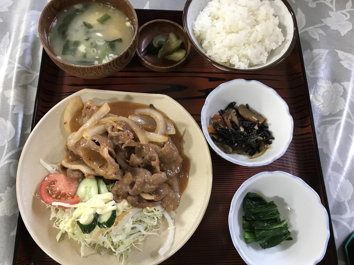 大畑町、丸美屋食堂の生姜焼き定食