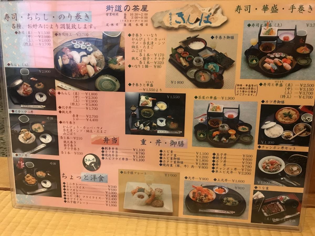 むつ市大畑町きんぱの寿司メニュー
