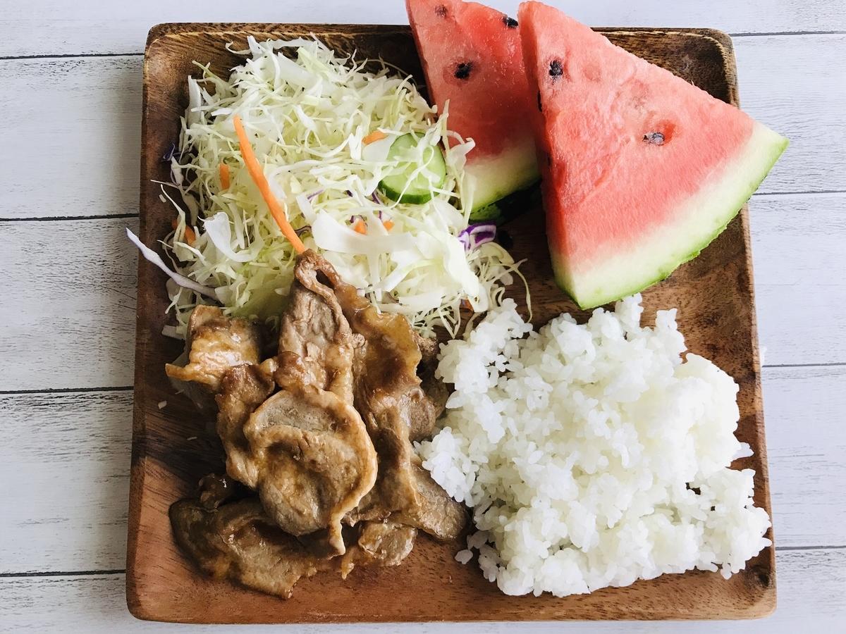 おうちごはん、夏の生姜焼き定食