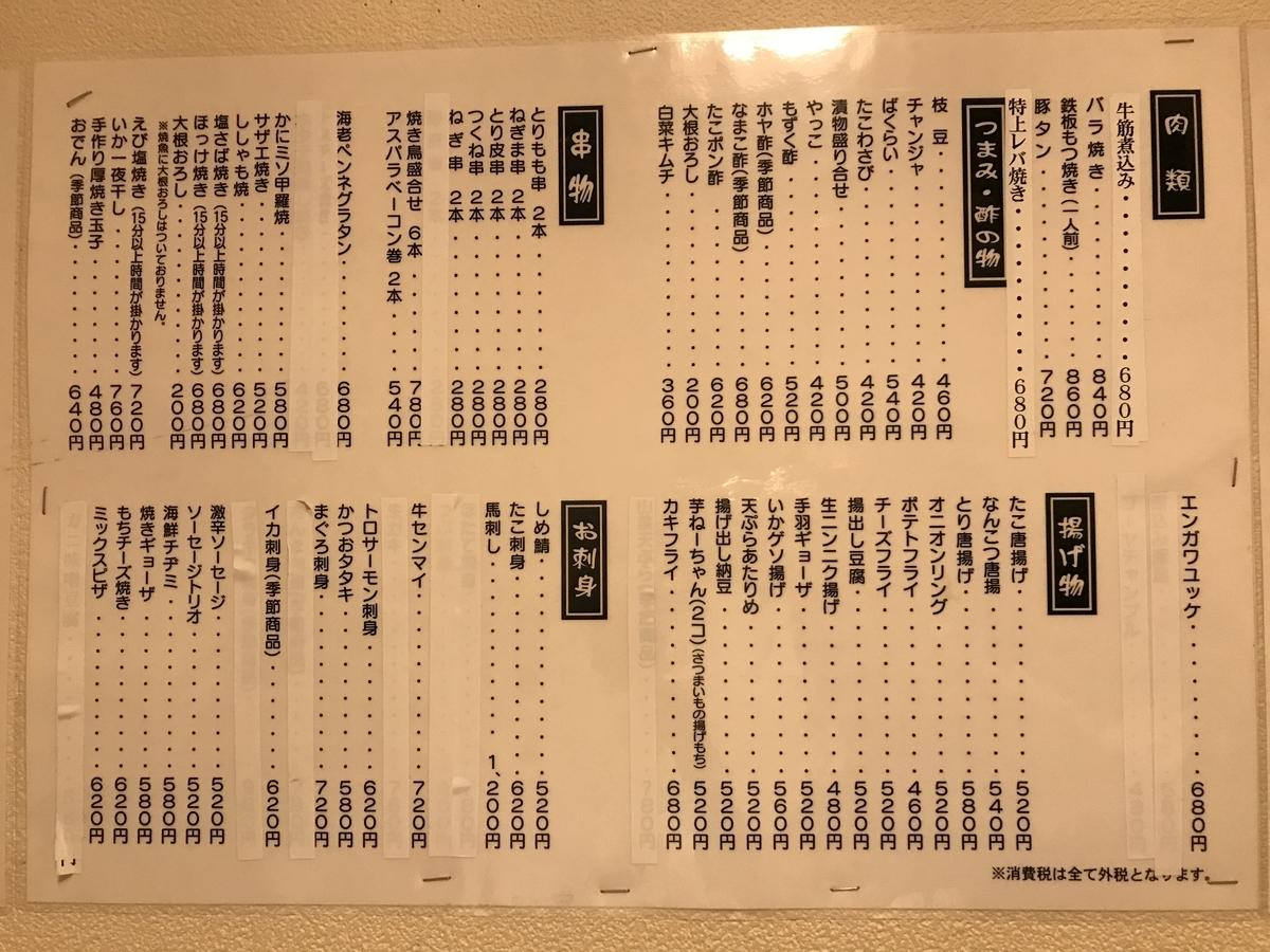 十和田市、居酒屋現代の食べ物メニュー
