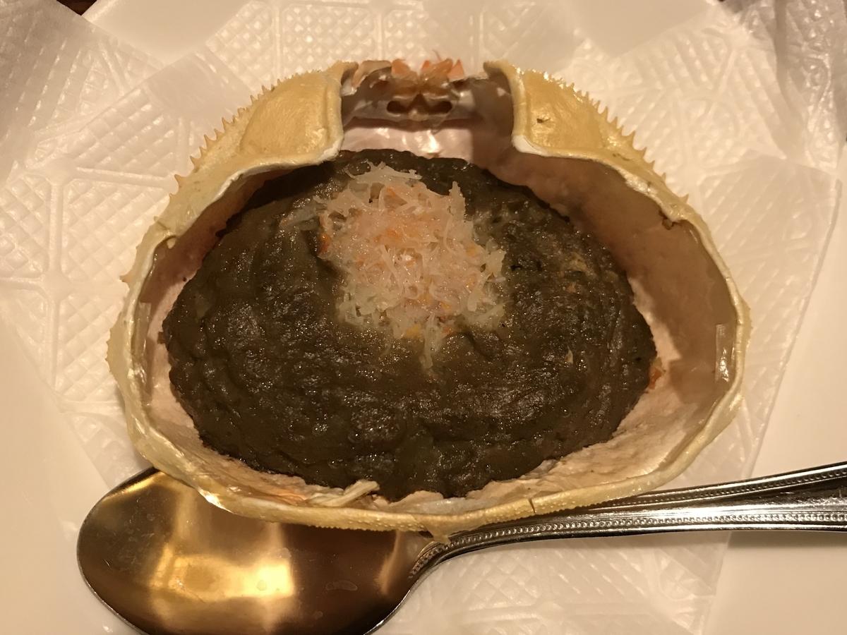 十和田市の居酒屋現代、かに味噌甲羅焼