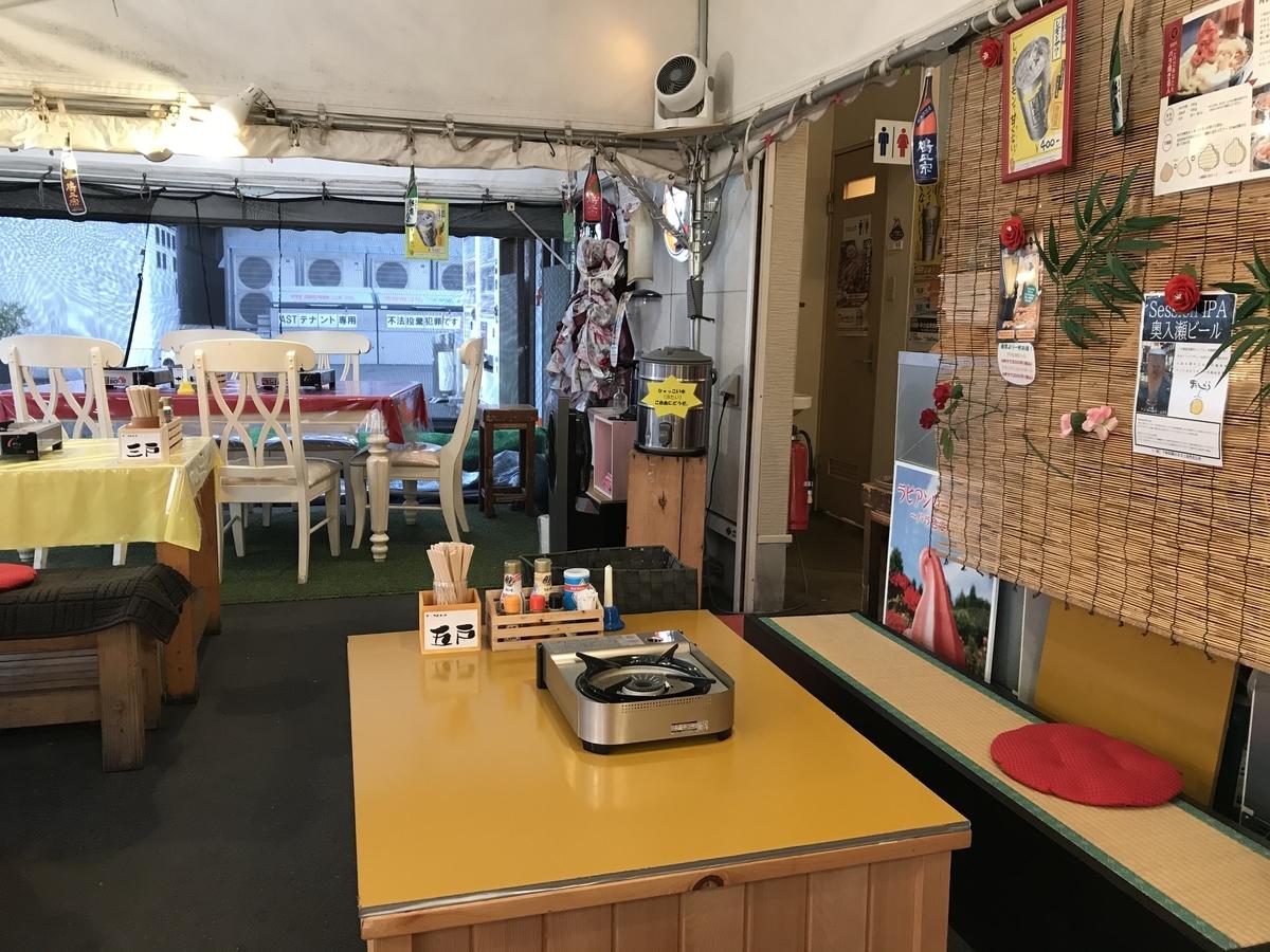 十和田市、司バラ焼き大衆食堂のテラス