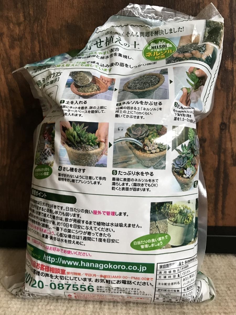 多肉植物寄せ植えの土ネルソル付属の使用方法