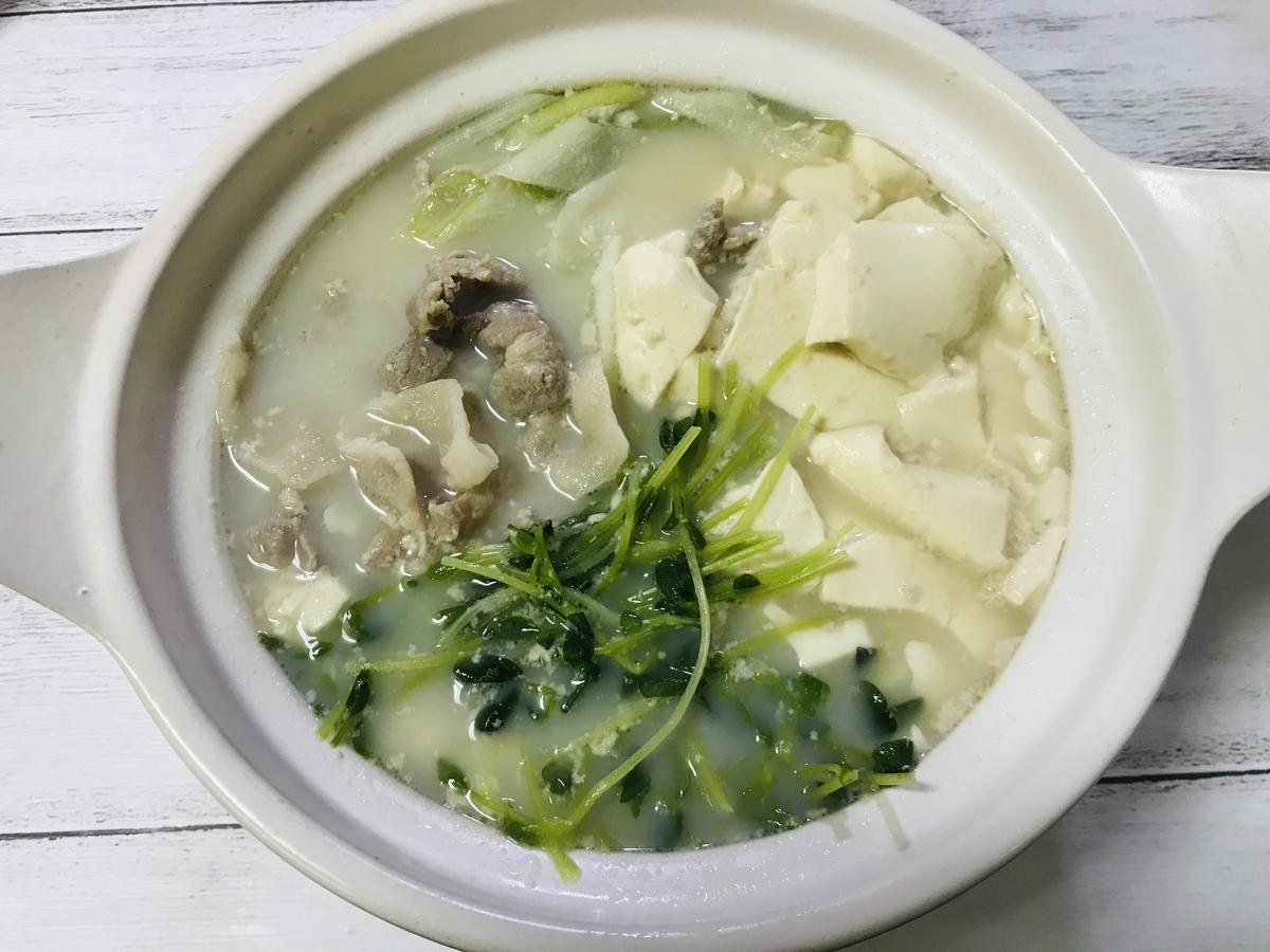 ダイソーの土鍋で手作り豆乳鍋