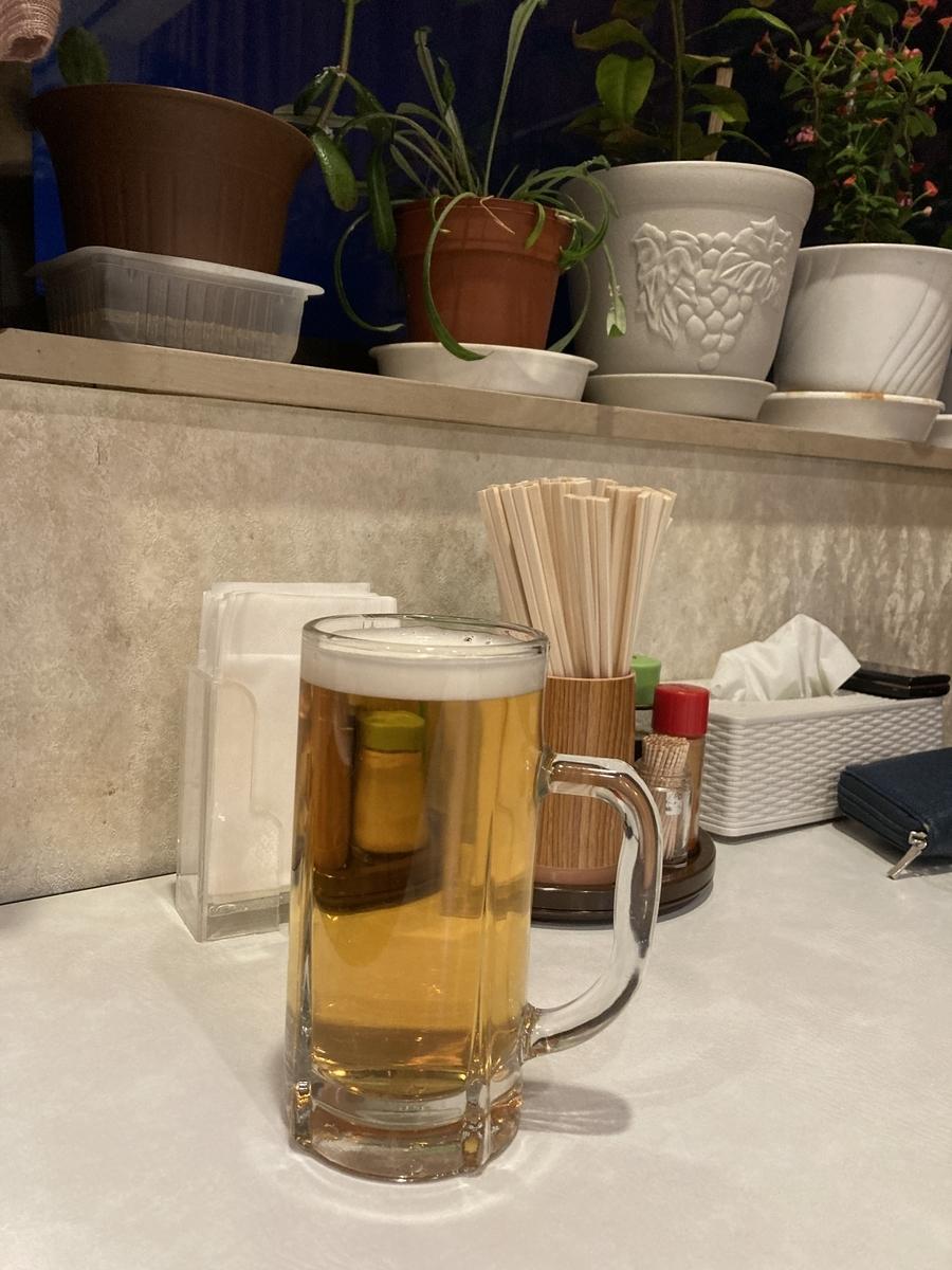 むつ市、石神温泉の生ビール