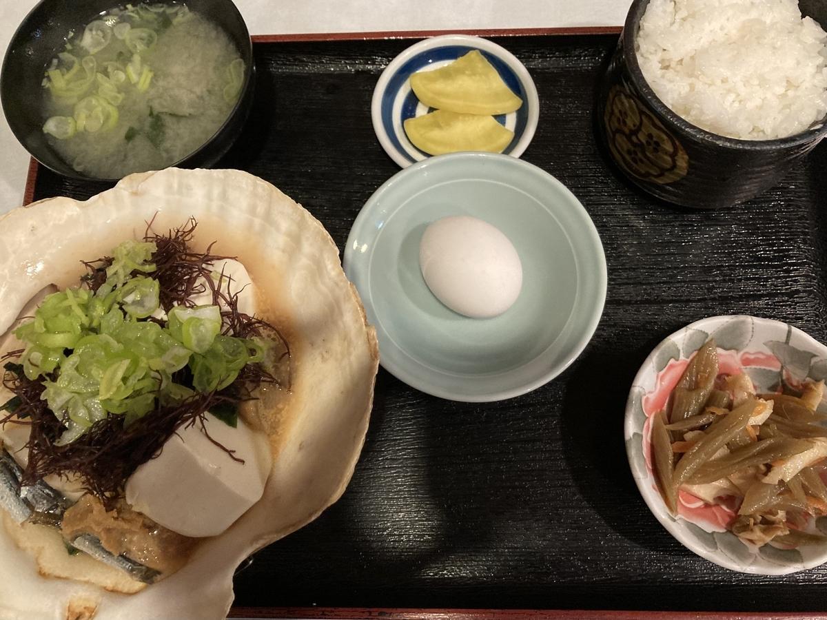 むつ市、石神温泉の味噌貝焼定食