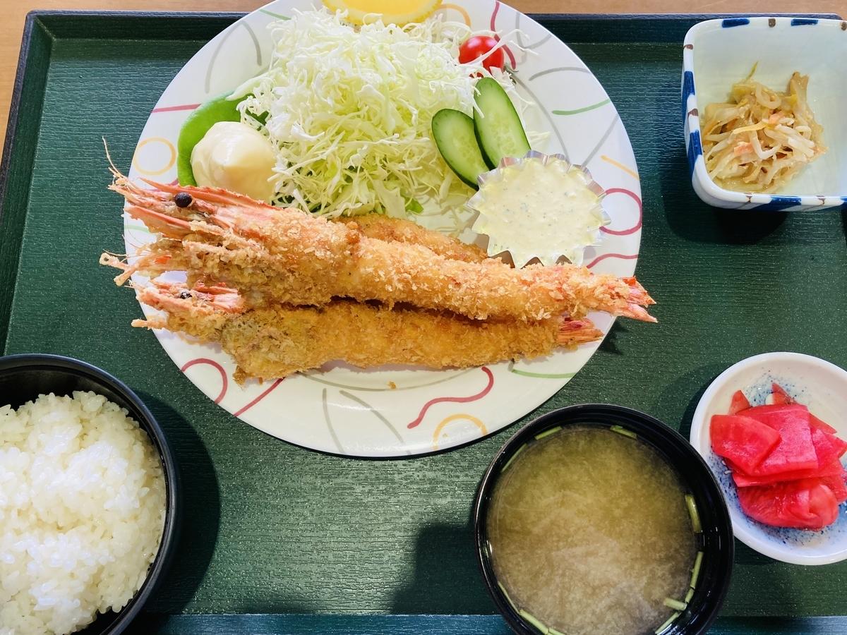 川内町スパウッド観光ホテルの海老フライ定食