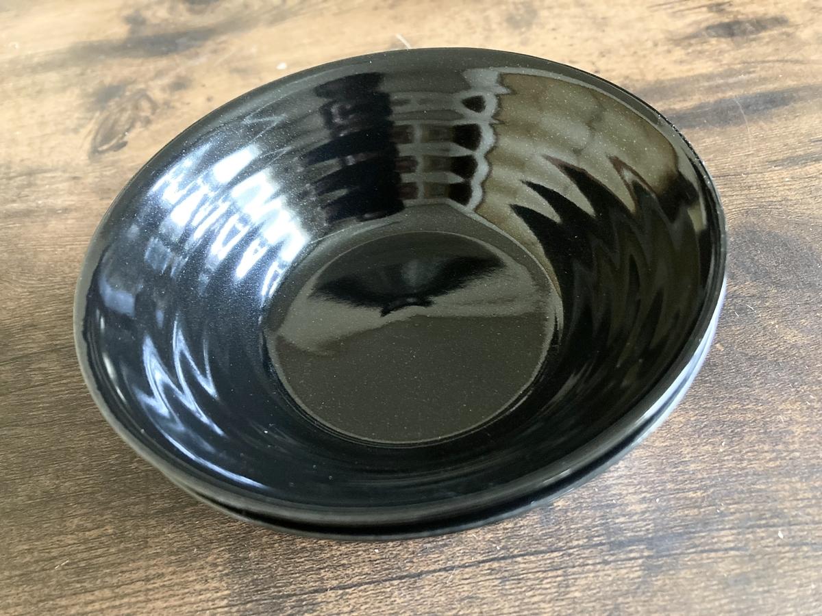 ダイソーの小鉢(黒流、喜窯)