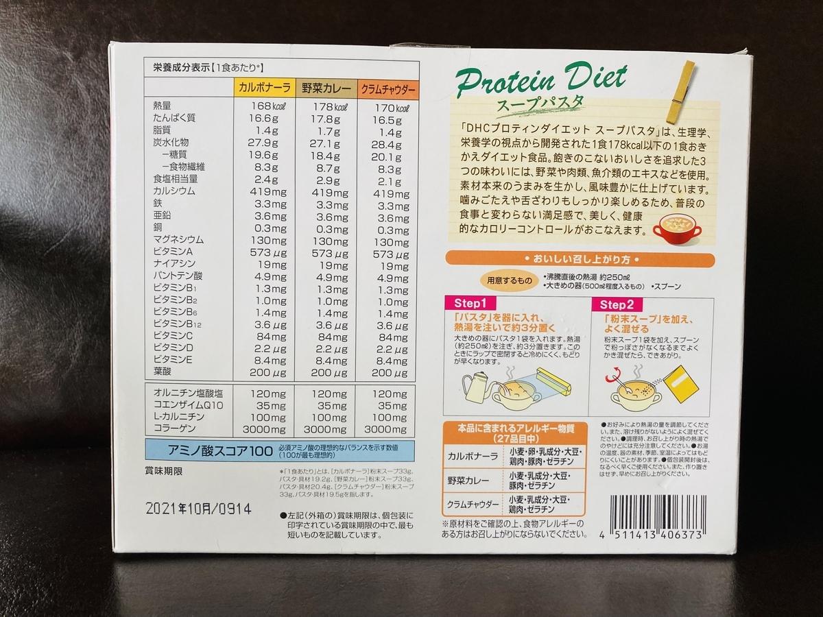 DHCプロテインダイエットの成分表
