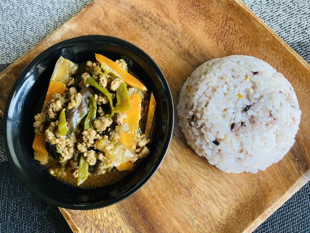 麻婆茄子と雑穀米