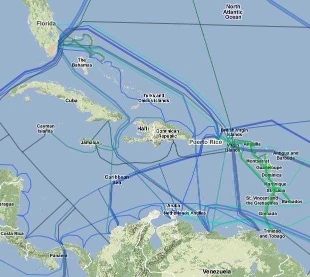 カリブ海の海底光ファイバー網