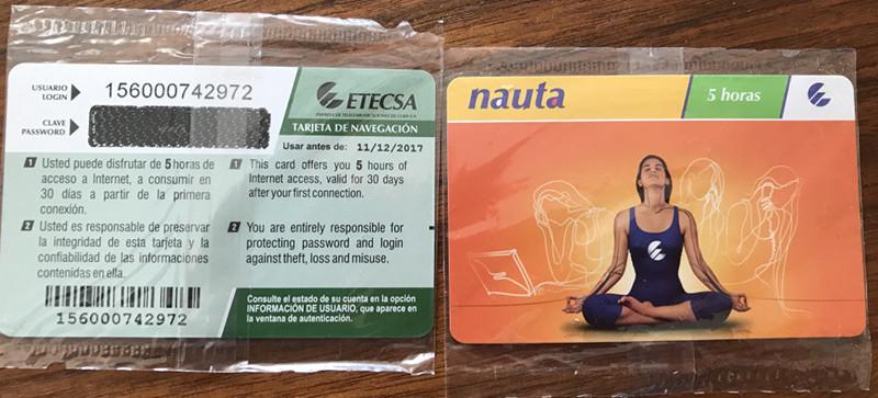 キューバのネット接続カード。1時間=1 CUC(= 1USD)