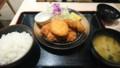 11/5 夜 ロースカツとカキフライ定食@松乃家