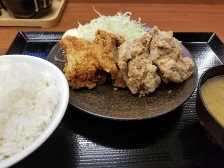 2017/11/06 夜 ゆず胡椒唐揚げの合盛定食@からやま
