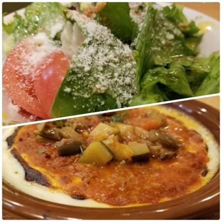 2017/11/20 夜 いろどり野菜のミラノ風ドリアとサラダ@サイゼリヤ
