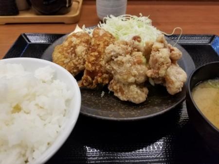 2017/11/29 夜 ゆず胡椒唐揚げの合盛定食@からやま