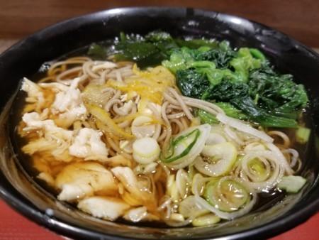 2018/01/15 夜 ゆず鶏ほうれん草そば@富士そば