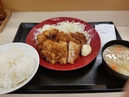 2018/03/29 夜 チキンカツと唐揚げの合盛り定食@かつや