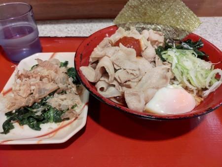 2018/6/27 夜 冷やし肉富士そば、ほうれん草のおひたし@富士そば