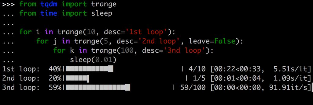 Pythonメモ : tqdmで処理の進捗(プログレスバー)を表示 - もた日記