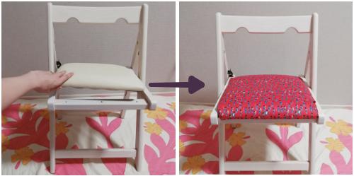 椅子のクッション部分に鼓笛隊柄の布を付けました