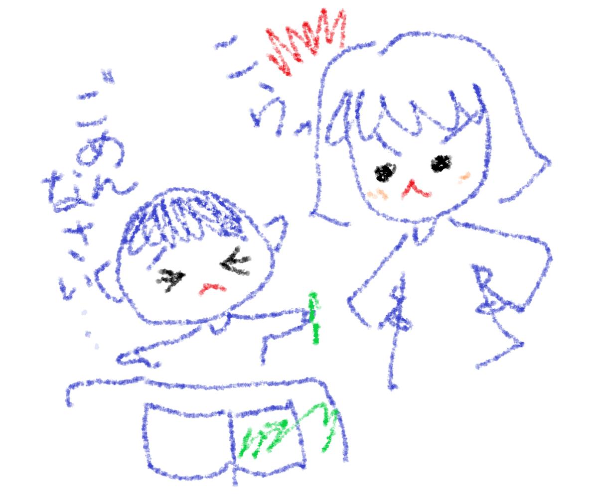 叱られる男の子と叱る母